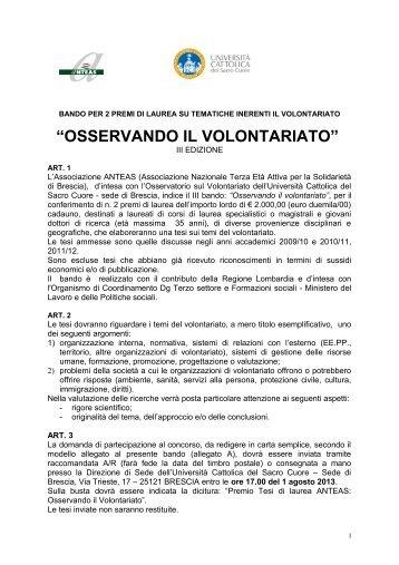 Bando di gara (.pdf 116 Kb) - Centro Servizi Volontariato Salento