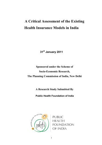 A Critical Assessment of the Existing Health Insurance Models in India