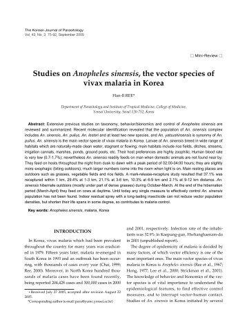 Studies on Anopheles sinensis, the vector species of vivax malaria ...