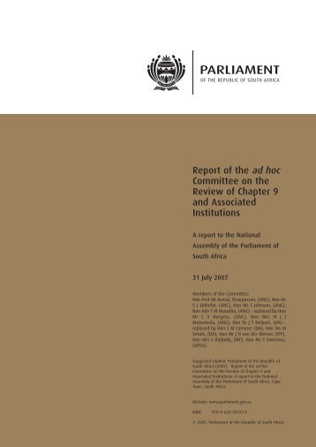 Report of the Ad Hoc Committee of chapter 9. 2007