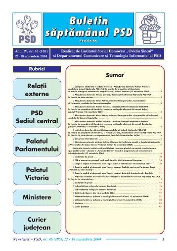"Newsletter nr. 46 - Institutul Social Democrat ""Ovidiu Sincai"""