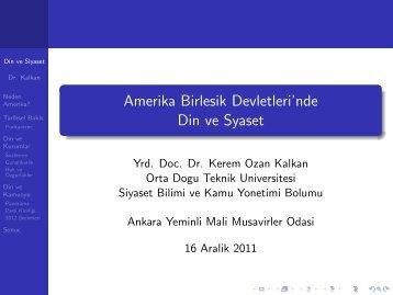 ABD'de Din ve Siyaset - Ankara Yeminli Mali Müşavirler Odası