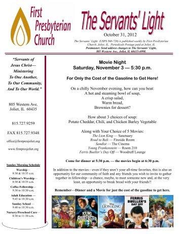 October 31, 2012 Movie Night Saturday, November 3 — 5:30 p.m.