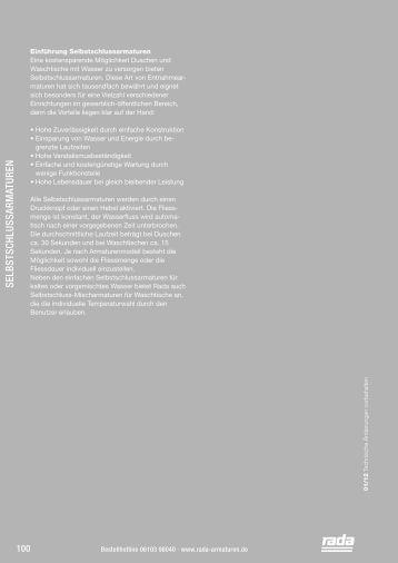Selbstschlussarmaturen - Rada Armaturen GmbH