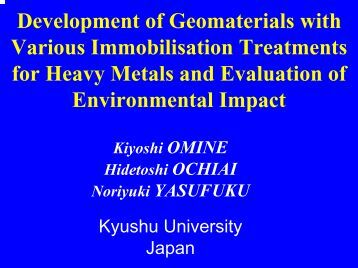 Development of geomaterials with various immobilisation ... - Starnet