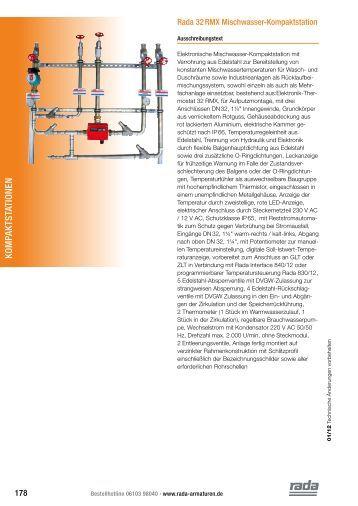 Technische Daten (PDF) - Rada Armaturen GmbH