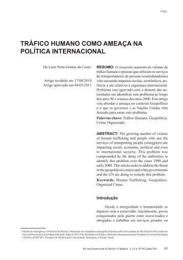 tráfico humano como ameaça na política internacional - revista ...