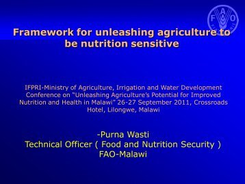 FAO Presentation by Purna Wasti - Linking Agriculture, Nutrition ...