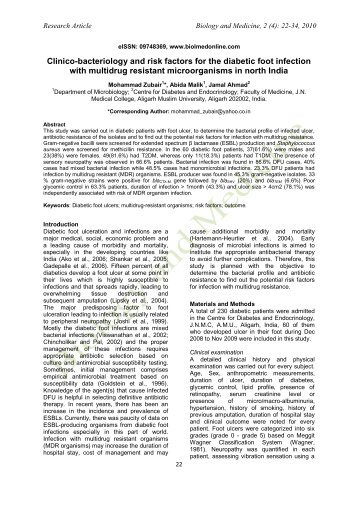 Clinico-bacteriology and risk factors for the diabetic foot infection ...