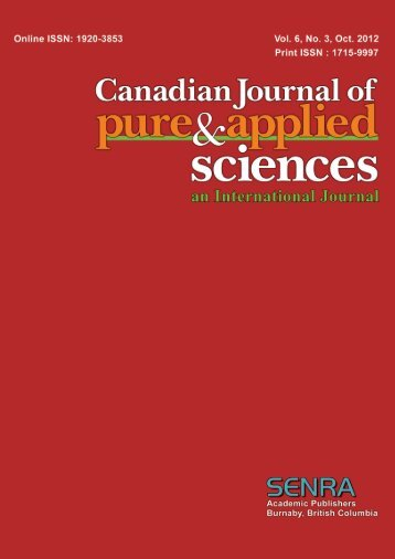 Oct-12 - Canadian Journal of Pure and Applied Sciences