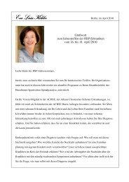 Grußwort von der Gattin des Bundespräsidenten Frau Eva Luise ...