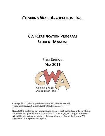 Certification Program Student Manual - Climbing Wall Association