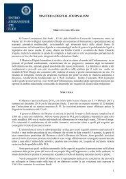 Master di I livello in DIGITAL JOURNALISM - Pontificia Università ...