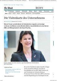Die Visitenkarte des Unternehmens - News Bern_ ... - Equal Pay Day