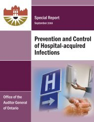 Hospital-acquired Infections - Auditor General of Ontario