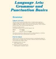 Language Arts: Grammar and Punctuation Basics ... - Pearson