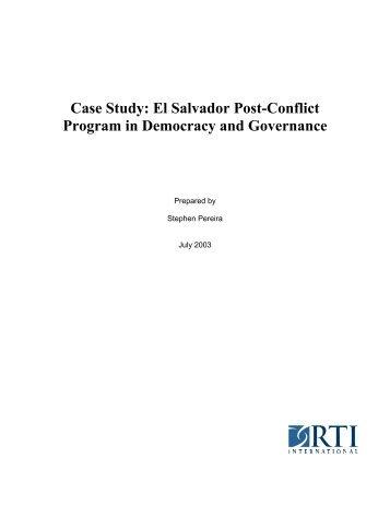 Case Study: El Salvador Post-Conflict Program in ... - RTI International