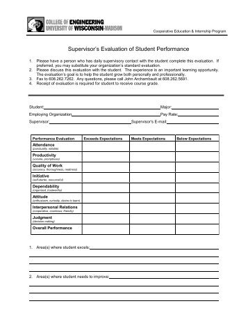 Evaluation Form For Outpatient Gtc Psychotherapy Supervisor