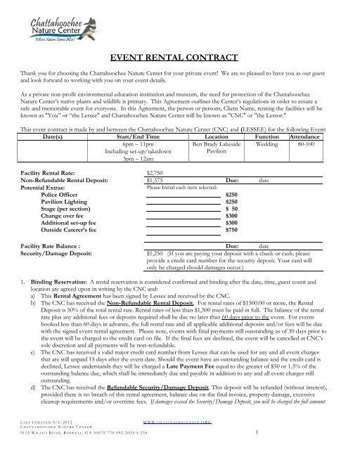 Event Rental Agreement Chattahoochee Nature Center