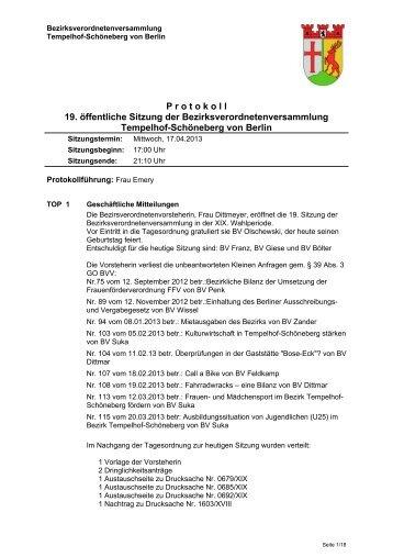 Protokoll der 19. Sitzung, April 2013 - Ein Bezirk für Alle