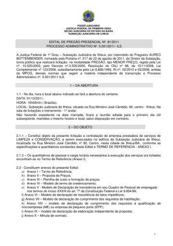 EDITAL DE PREGÃO PRESENCIAL Nº. 81/2011 ... - Justiça Federal