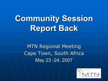 Report from Community Session - Microbicide Trials Network