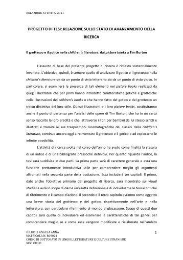 Progetto di ricerca - Dottorato in Lingue, letterature e culture straniere