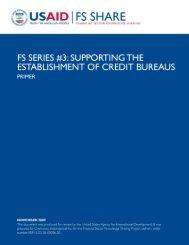 Supporting the Establishment of Credit Bureaus-Primer - Economic ...