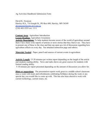 BIOLOGY    CURRENT EVENT ASSIGNMENT INSTRUCTIONS Agriculture Current Events Report Assignment