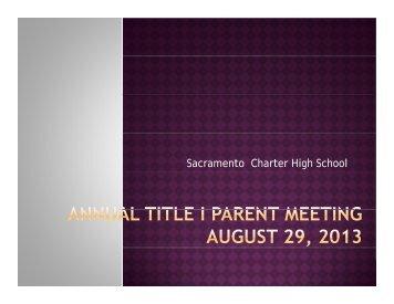 Title I presentation - Sacramento Charter High School
