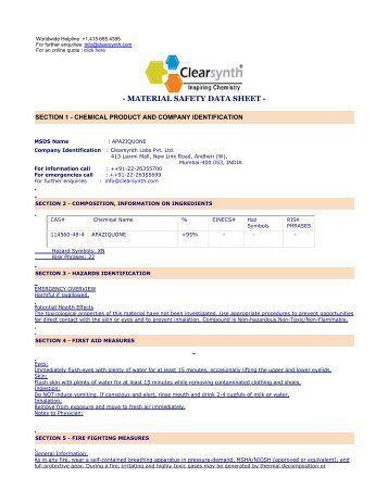 APAZIQUONE-Material Safety Datasheet - clearsynth