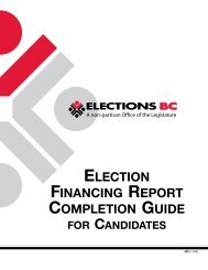 Election Financing Report Completion Guide for ... - Elections BC