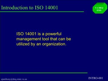 Introduction To ISO 14001