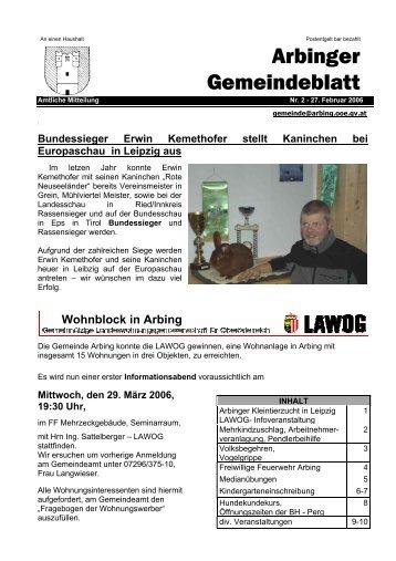 Mittwoch, den 29. März 2006, 19:30 Uhr - Gemeinde Arbing