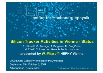 Silicon Tracker Activities in Vienna - Status - HEPHY