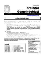 am Freitag, 3. Dez. 2004, ab 18:00 Uhr. - Gemeinde Arbing
