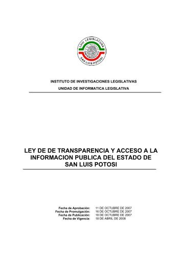 Ley de Transparencia y Acceso a la Información Pública del Estado ...