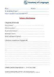 Italiano – Test d'ingresso - F+U Academy of Languages Heidelberg