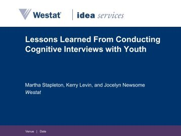Lessons Learned From Conducting Cognitive Interviews with Youth ...