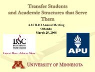 Organizational Structures for Undergraduate Transfer ... - AACRAO