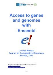 Access to genes and genomes with Ensembl - Molecular Evolution