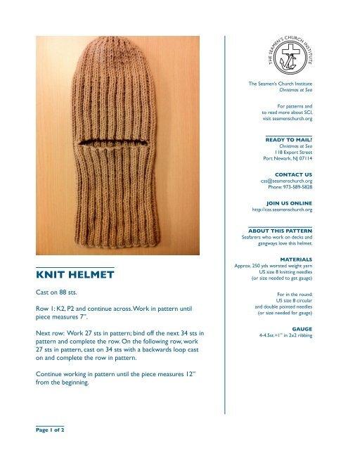 KNIT HELMET - The Seamen's Church Institute