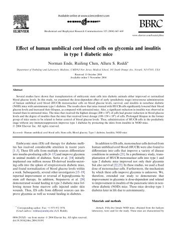 Effect of human umbilical cord blood cells on glycemia and insulitis ...