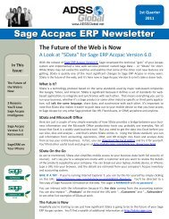 ADSS Global Sage Accpac ERP Newsletter Issue 1 2011