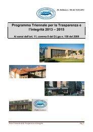 Programma Triennale per la Trasparenza e l'Integrità 2013 – 2015