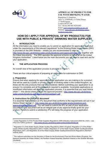 how do i apply for approval of my product(s) - Drinking Water ...