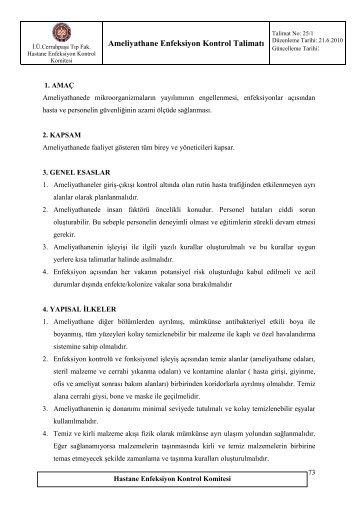 25/1-Ameliyathane Enfeksiyon Kontrol Talimatı - İ.Ü. Cerrahpaşa Tıp ...