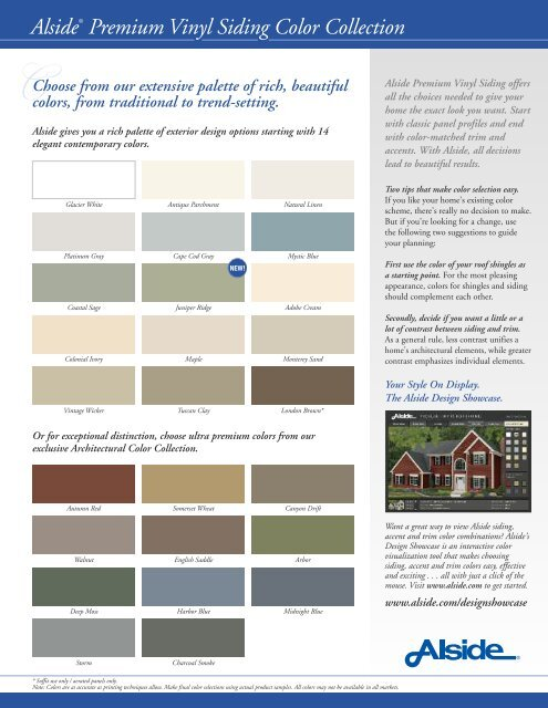 Alsidea Premium Vinyl Siding Color Collection