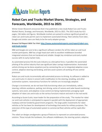 Global Robot Cars Market Size and Forecast upto 2015 to 2021: Acute Market Reports
