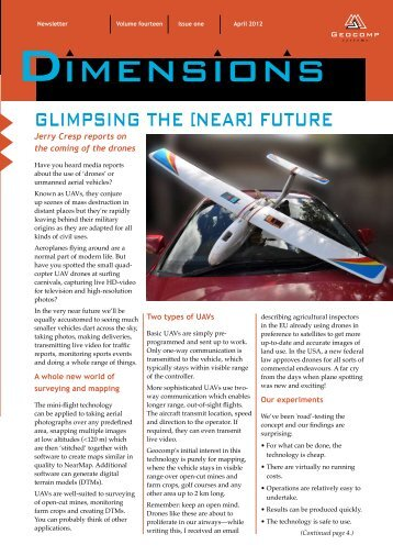 Dimensions Vol 14 Issue 1 April 2012 Glimpsing the [near] future
